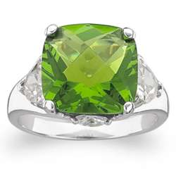 Sterling Silver Faux Peridot and Cubic Zirconia Ring