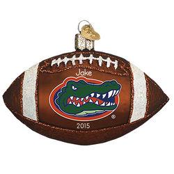 Personalized University of Florida Gators Glass Football Ornament