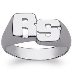 Ladies Celebrium Block Two-Inital Ring