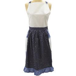 Blue Dotted Fleur De Lys Vintage-Inspired Apron