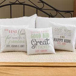 Mom's and Grandma's Loving Words Throw Pillow