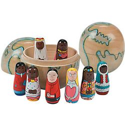 Kids' Multicultural Wooden Children and Globe Set