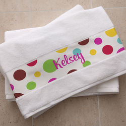 Crazy For Polka Dots Personalized Bath Towel
