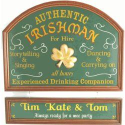 Authentic Irishman for Hire Personalized Pub Sign