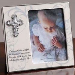 Baptism Frame with Silver Cross