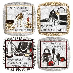 High Heel Jungle Wine Topper Plate Set