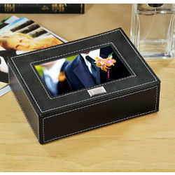Engraved Leather Photo Box