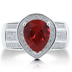 Pear Cut Ruby Cubic Zirconia Cocktail Ring