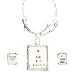 Life is a Cabernet Wine Bottle Branch with Set of 2 Wine Rings