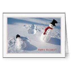 Snowman Snow Angel Holiday Cards