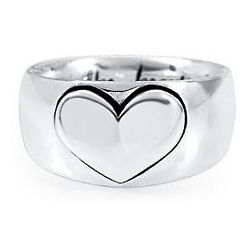Sterling Silver Mom's Heart Size 7 Ring