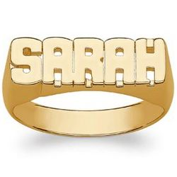 Ladies Yellow Celebrium Block Name Ring