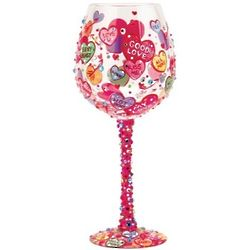 Conversation Hearts Super Bling Wine Glass