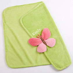 Plush Velour Butterfly Baby Blanket