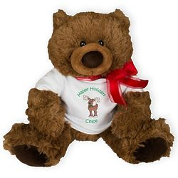 """Personalized 10"""" Coco Bear in Holiday Tee"""