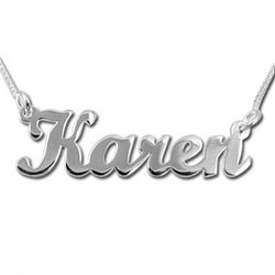 14k Solid White Gold Script Name Necklace