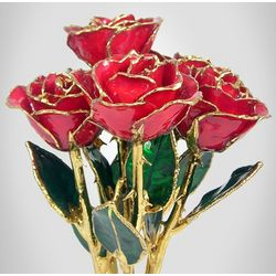 "Six 8"" Gold Trimmed Preserved Roses"