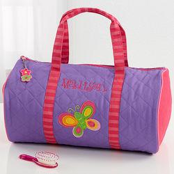Personalized Girls Butterfly Duffel Bag