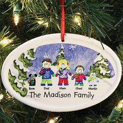 Personalized Winter 'Family of Characters' Ornament