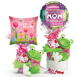 Plush Frog with Chocolate Heart and Mom Balloon