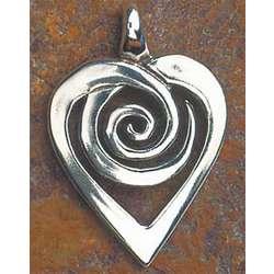 Spiral Silver Heart Pendant