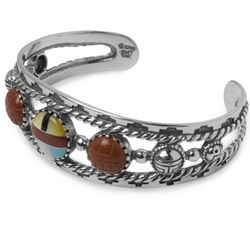 Channel Inlay Multi Stone Cabochon Cuff Bracelet
