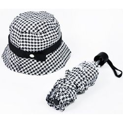 Houndstooth Check Umbrella and Hat