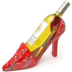 Red Glam Rhinestone Shoe Wine Bottle Holder