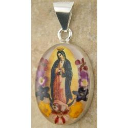 Small Sterling Silver Our Lady of Guadalupe Pendant