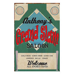 Personalized Grand Slam Saloon Wall Sign