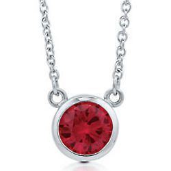 Sterling Silver Ruby Cubic Zirconia Solitaire Necklace