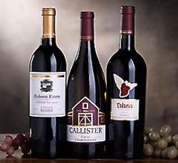 Cabernet, Merlot and Chardonnay California Wine Trio