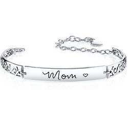 Sterling Silver Mom Inscribed Bracelet