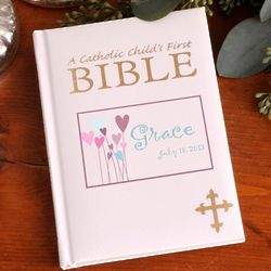 Personalized Heart Flowers Catholic Child's First Bible