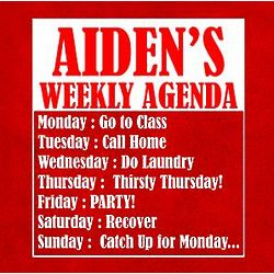 Personalized Weekly College Agenda T-Shirt