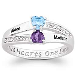 Sterling Silver Couple's Heart Name and Birthstone Ring