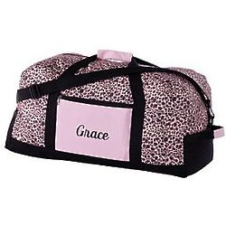 Pink Leopard Personalized Duffel Bag