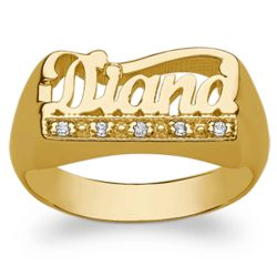 Women's Gold Over Sterling Name Ring with Diamond Encrusted Tail