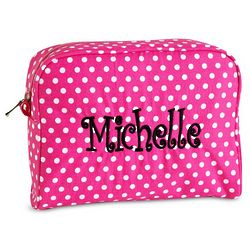 Personalized Large Polka Dot Cosmetic Bag
