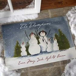 Snow Family Watercolor Art Personalized Standard Doormat