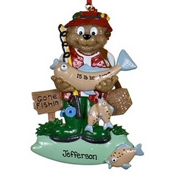 Personalized Fisherman Bear Christmas Ornament