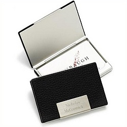 Personalized Black Leather Business Card Case