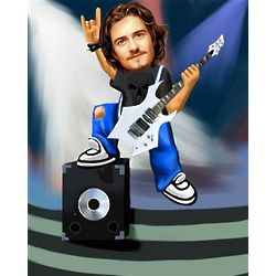 Your Photo as a Rockin' Out Caricature Print