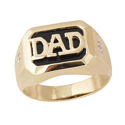 Onyx & Diamond DAD Ring in Yellow Gold