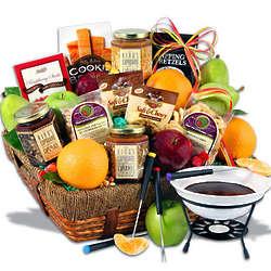 Fruit and Chocolate Fondue Festival Basket