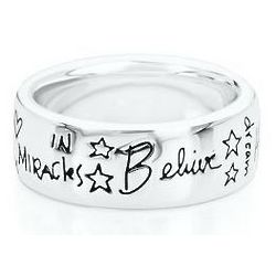 Sterling Silver Polished Believe Ring