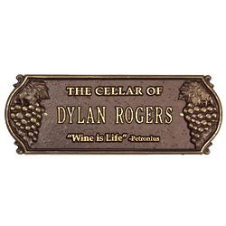 Wine Is Life Personalized Cellar Plaque