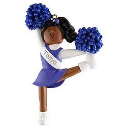 Personalized African American Cheerleader Ornament