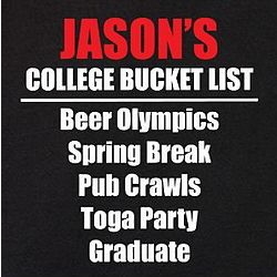 Personalized College Bucket List T-Shirt
