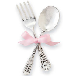 Baby Girl Silver Feeding Set